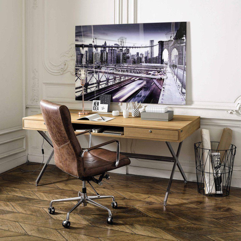 bureau vintage guariche pr sident en ch ne massif. Black Bedroom Furniture Sets. Home Design Ideas