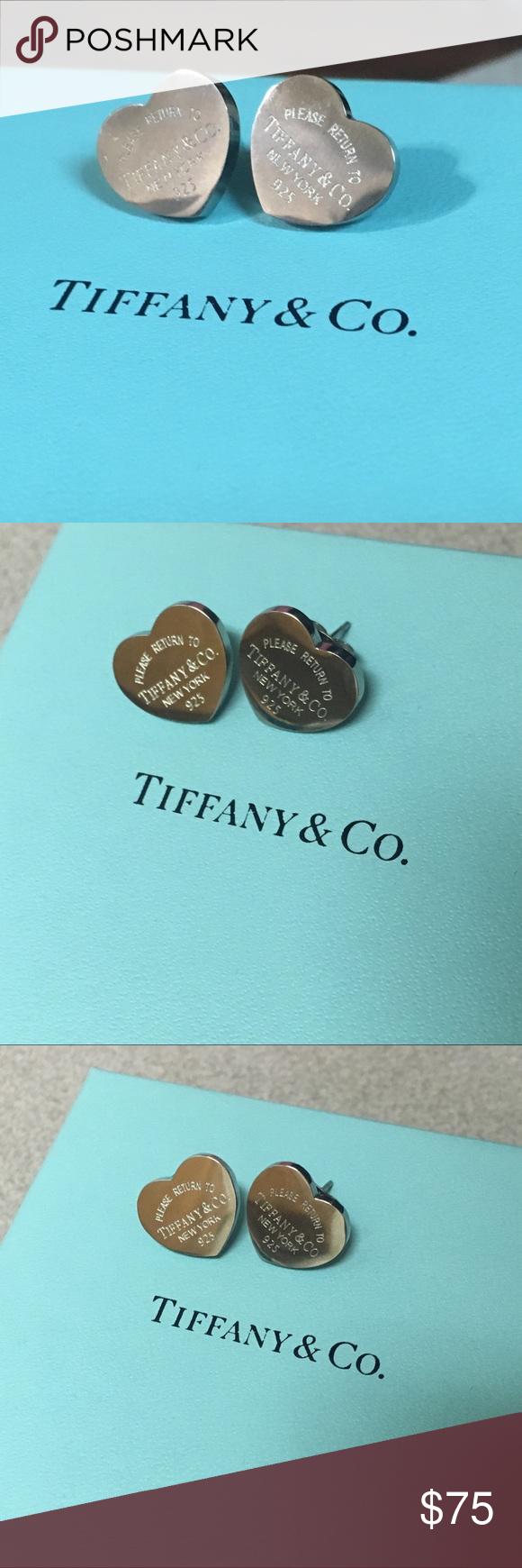 Return To Tiffany Co Heart Tag Earrings Medium 925 Sterling Silver