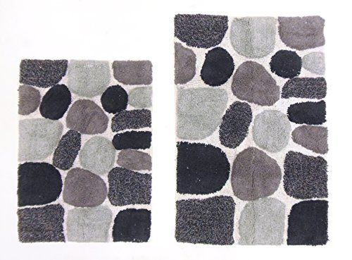 Beautiful Cotton Craft   2 Piece Bath Rug Set   Pebbles Stones With Spray Latex Back    Grey Multi   Pure Cotton   High Quality And Absorbent   Super Soft And  Plush ...