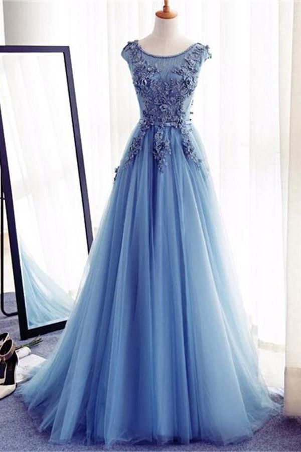 Charmante blaue lange Spitze Tüll Open Back Lace Up Prinzessin Prom Kleider € 158.63 SAP5R2EAY4 - SchickeAbendKleider.de