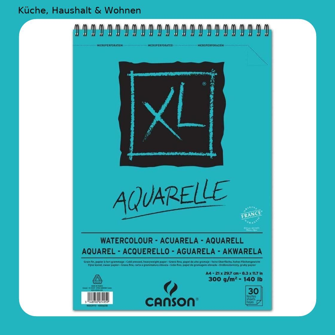 Canson 400039170 Skizzen Und Studienblock Xl Aquarelle Din A4 In