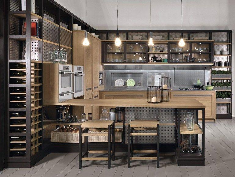 Cozinha de carvalho com península ROVERETTO by L\'Ottocento | @home ...