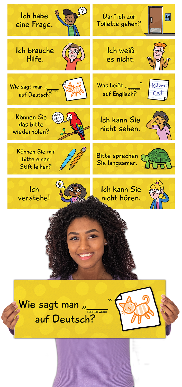 Classroom Phrases German Signs Set Of 12 In 2020 Learn German School Signs Classroom