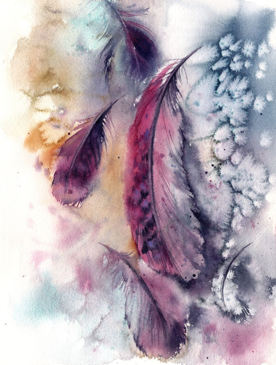 Purple Feathers Original Watercolor Painting Loose Style Painting
