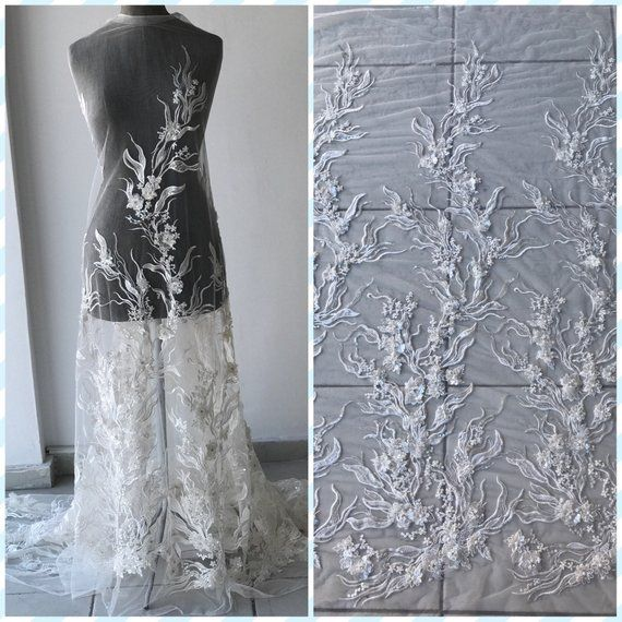 4bc123b0fd6 Off White Light Ivory corded bridal lace fabric embroidered with sequins  stones pearls 3D flowers wedding dress lace fabric