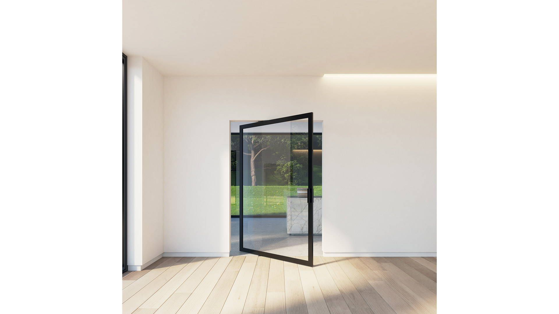 Pivoting room dividers with a minimal aluminium frame and invisible
