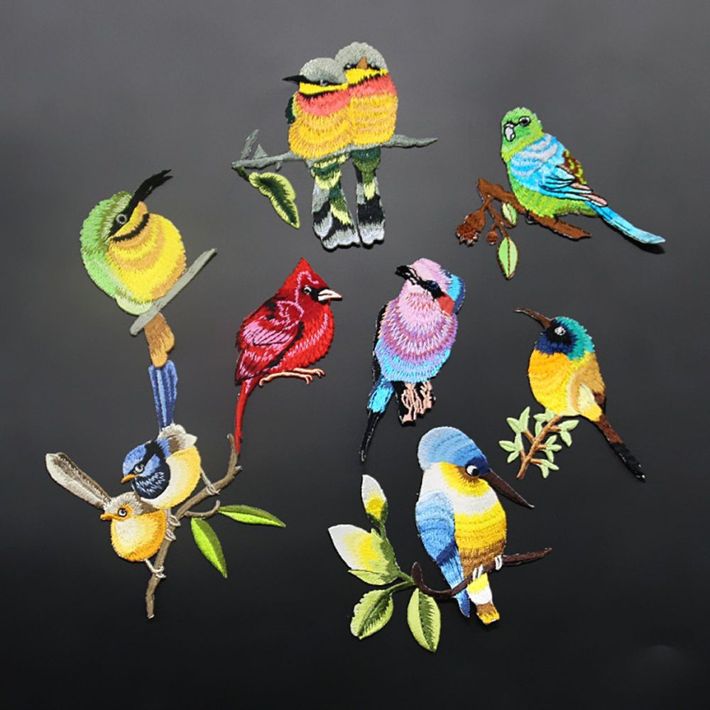 1Pc Sew Embroidery Birds Iron On Patch Badge Applique Patches With Glue Random #Unbranded