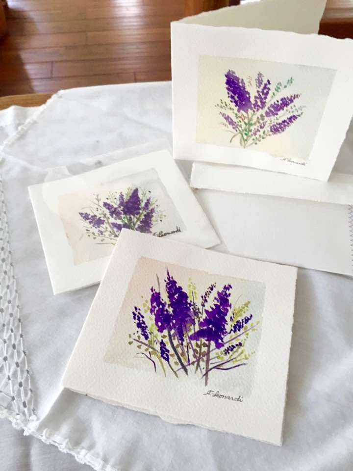 Blank cards handpainted and handmade; unique delicate aquarelle desing for share feelings and keep them as a piece of art. by MonBrise on Etsy