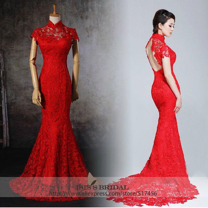 Red Open Back Wedding Dresses