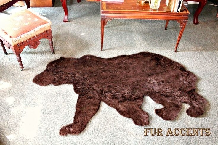 Plush Thick Faux Fur Fabric Bear Skin Rug Grizzly Fake Bearskin Teddy Taxidermy Toss Hide Pelt Via Etsy