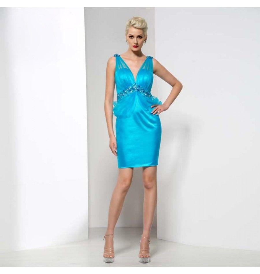 Sexy V-Ausschnitt Cocktailkleid Hellblau | Abendkleider 2017 ...