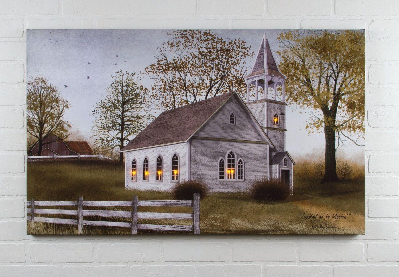 Radiance Lighted Canvas Billy Jacobs Sunday Go To Meeting Church Large 24x40 Radiance Lighted Canvas Light Up Canvas Lighted Canvas