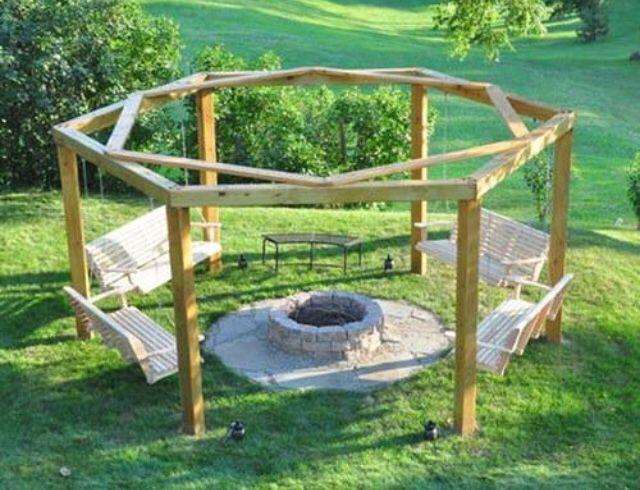 Hexagon fire pit with swings!! - Hexagon Fire Pit With Swings!! ʟɪᴠɪɴ' ɪᴛ ᴜᴘ Pinterest Fire