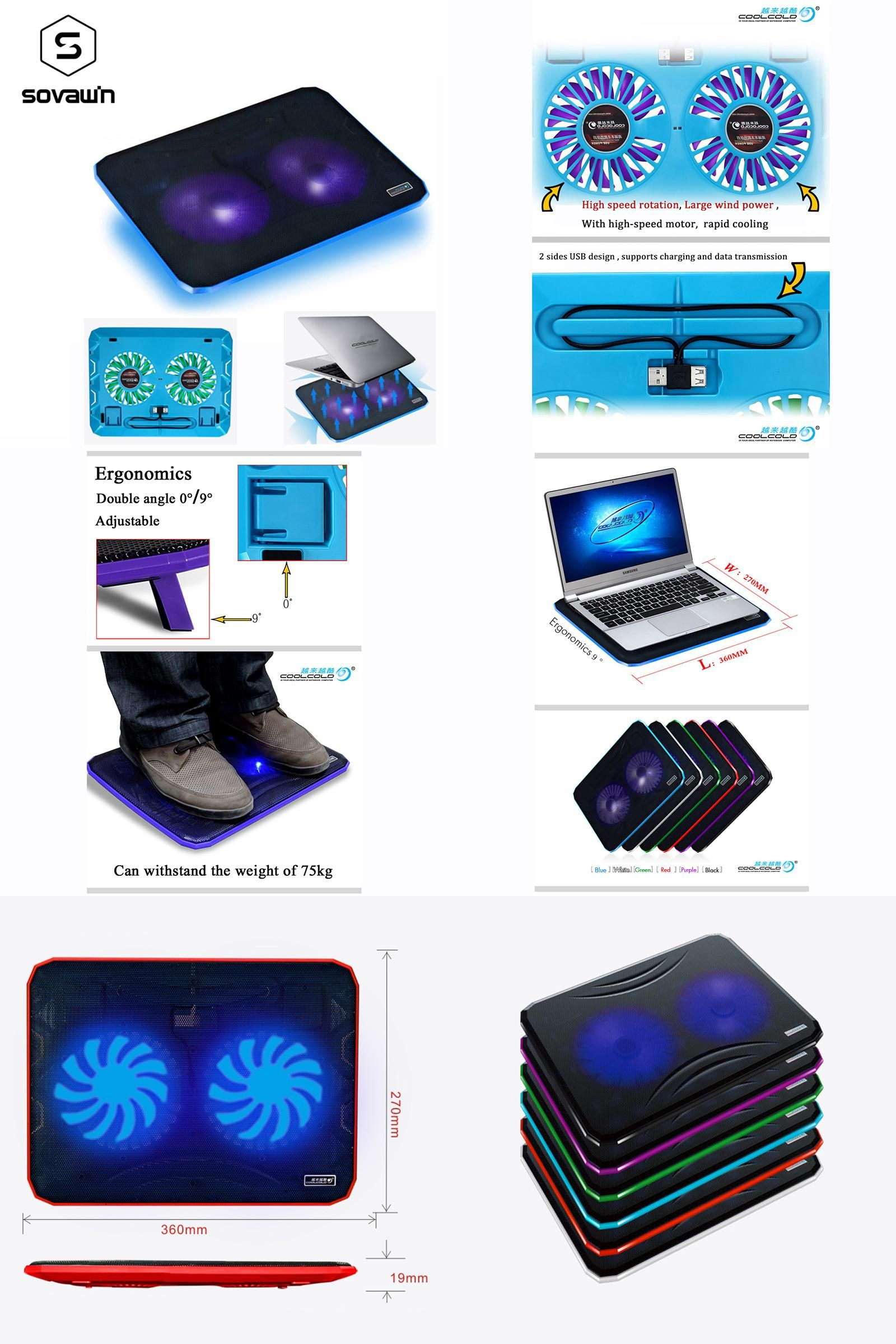 Notebook Cooler Pad with 3 60mm Blue LED Fans
