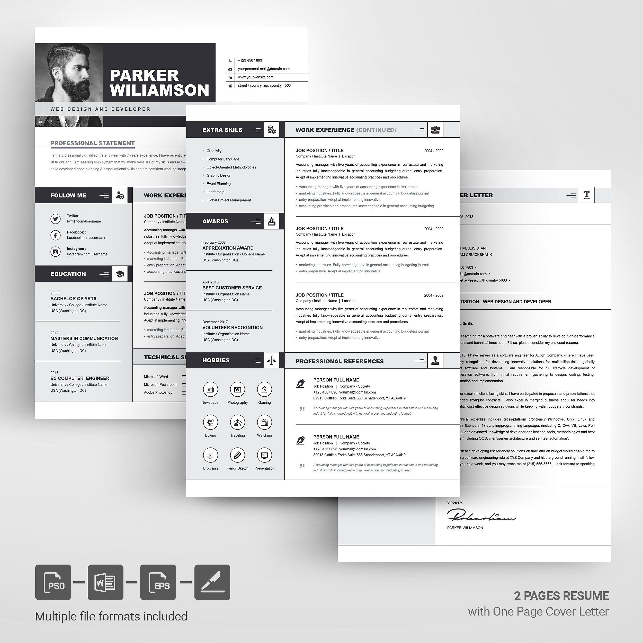 Resume Template CV + Cover Letter Cv cover letter