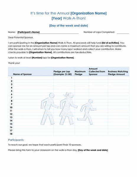 Walkathon fundraiser pledge form Templates – Sponsored Walk Form Template