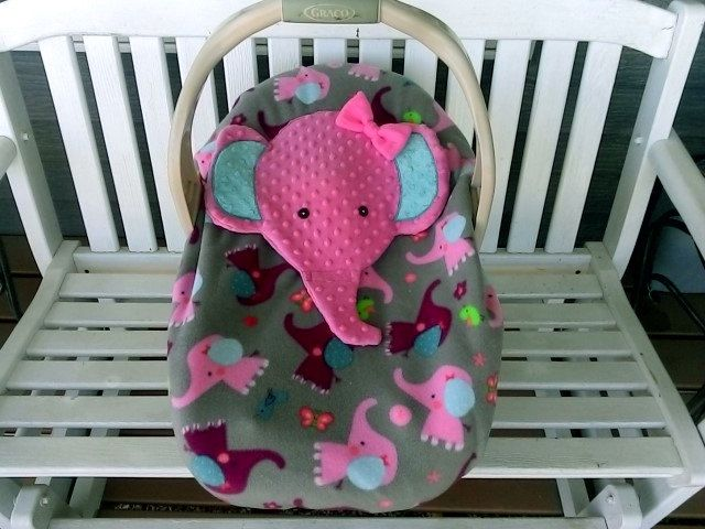 Appliqued Girls Pink Elephant Infant Baby Carrier Cover Car Seat Fleece Gray Purple Minky By Lindasnd On Etsy