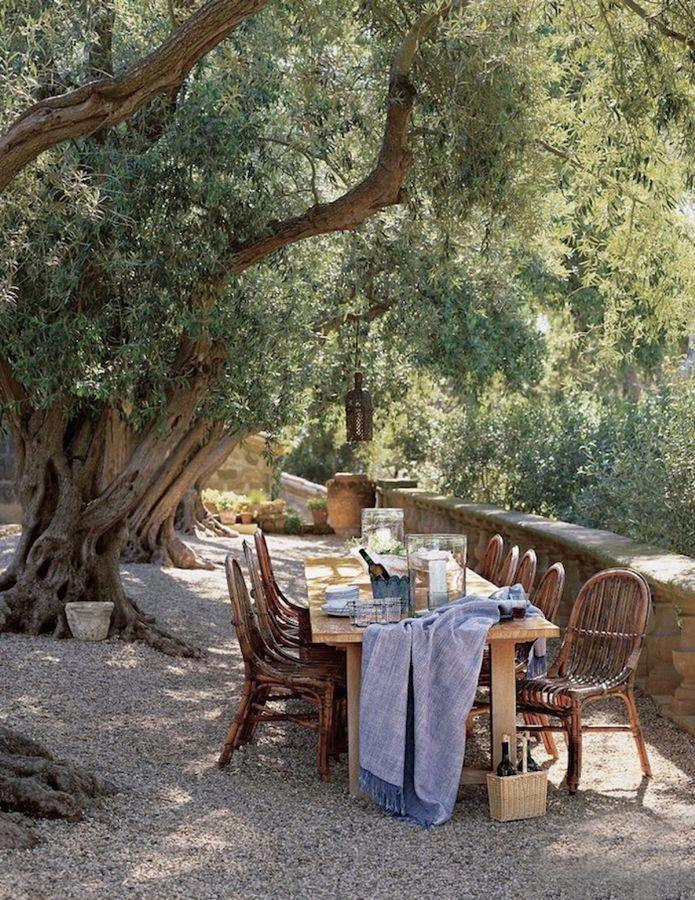 Mesa de comedor bajo los rboles colores para el sal n y for Jardineria al aire libre casa pendiente