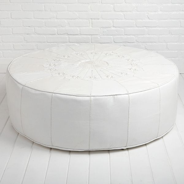 Prime The Moroccan Leather Ottoman In White Is Decoratively Gmtry Best Dining Table And Chair Ideas Images Gmtryco