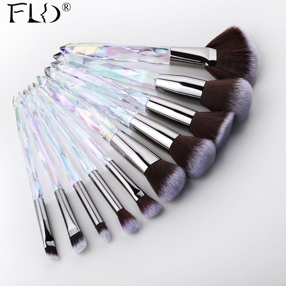Fld 10pcs Crystal Makeup Brushes Set Powder Foundation Fan Brush Eye Shadow Eyebrow Professional Makeup Brush Set Crystal Makeup Makeup Brushes