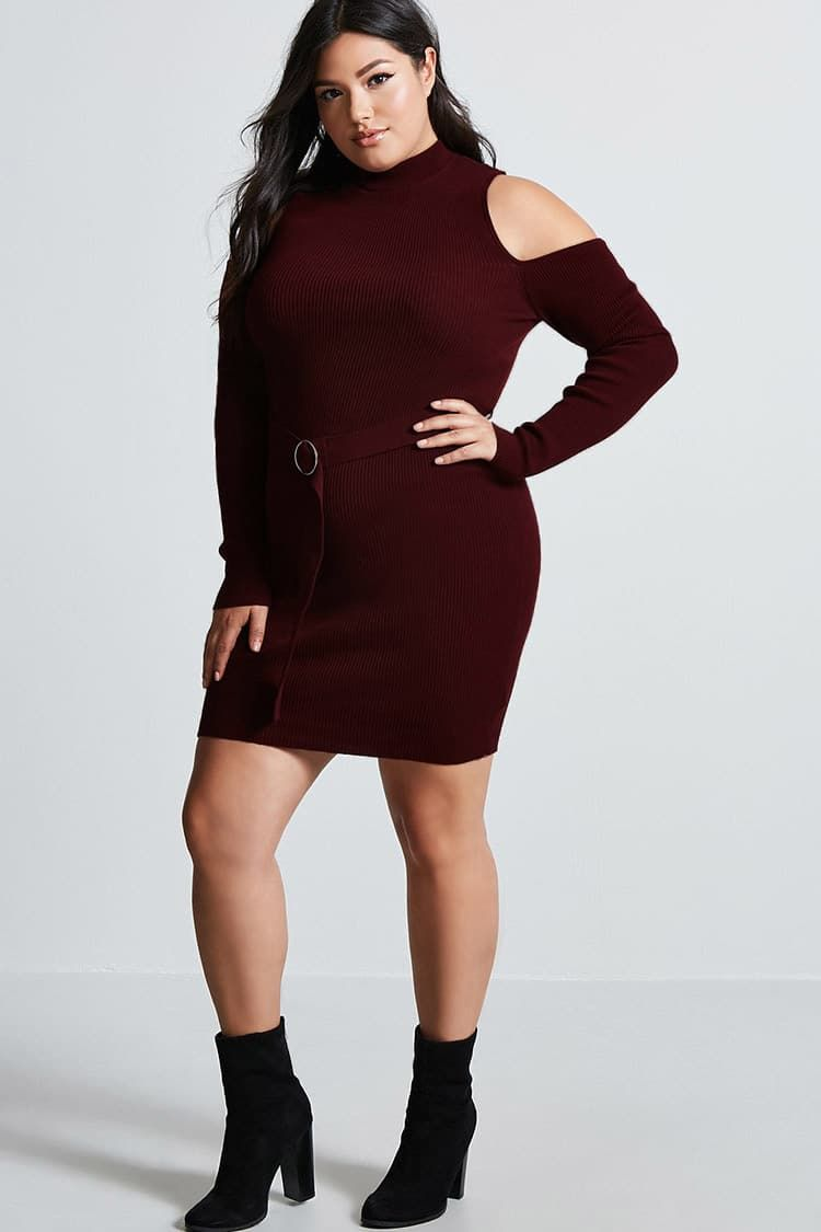 Ad Cheap Women Plus Size Cutout Ribbed Dress For Fall Holiday