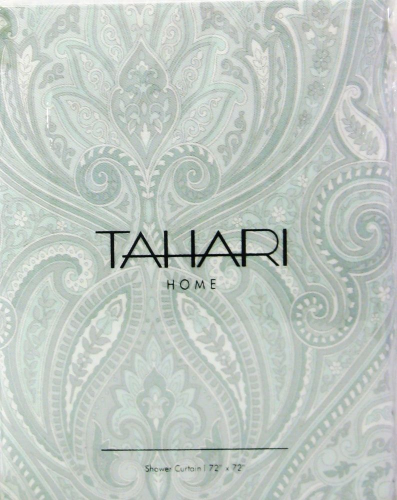 Tahari shower curtains - Tahari Fabric Cotton Blend Shower Curtain Roseman Paisley Pale Aqua New