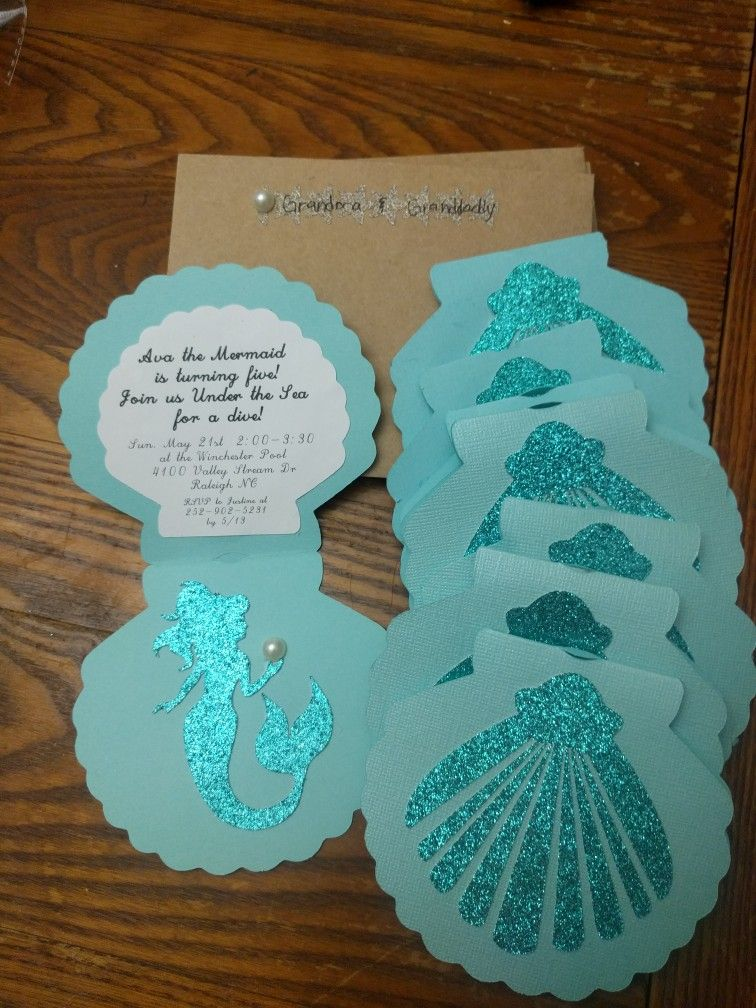 Sea shell invites for anna 39 s 5th birthday justine ava - Invitacion para cumpleanos ...