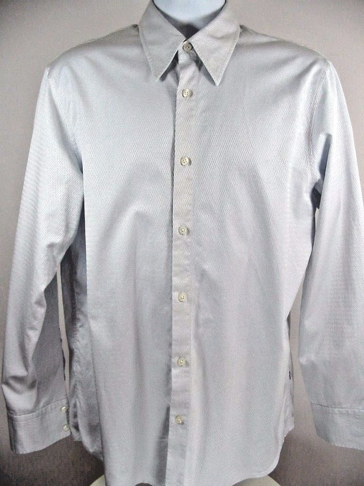Hugo Boss Men's Dress Shirt Light Gray Long Sleeve Size Large
