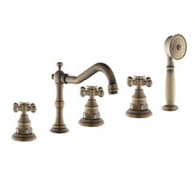 Photo of Juno Antique Brass Finish Triple Handle Bathtub Faucet with Hand Shower