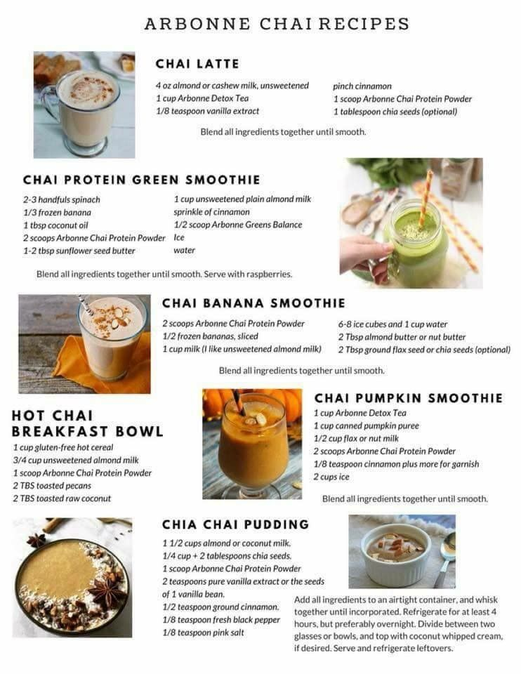 Delicious recipes with Arbonne chai protein!  Arbonne shake