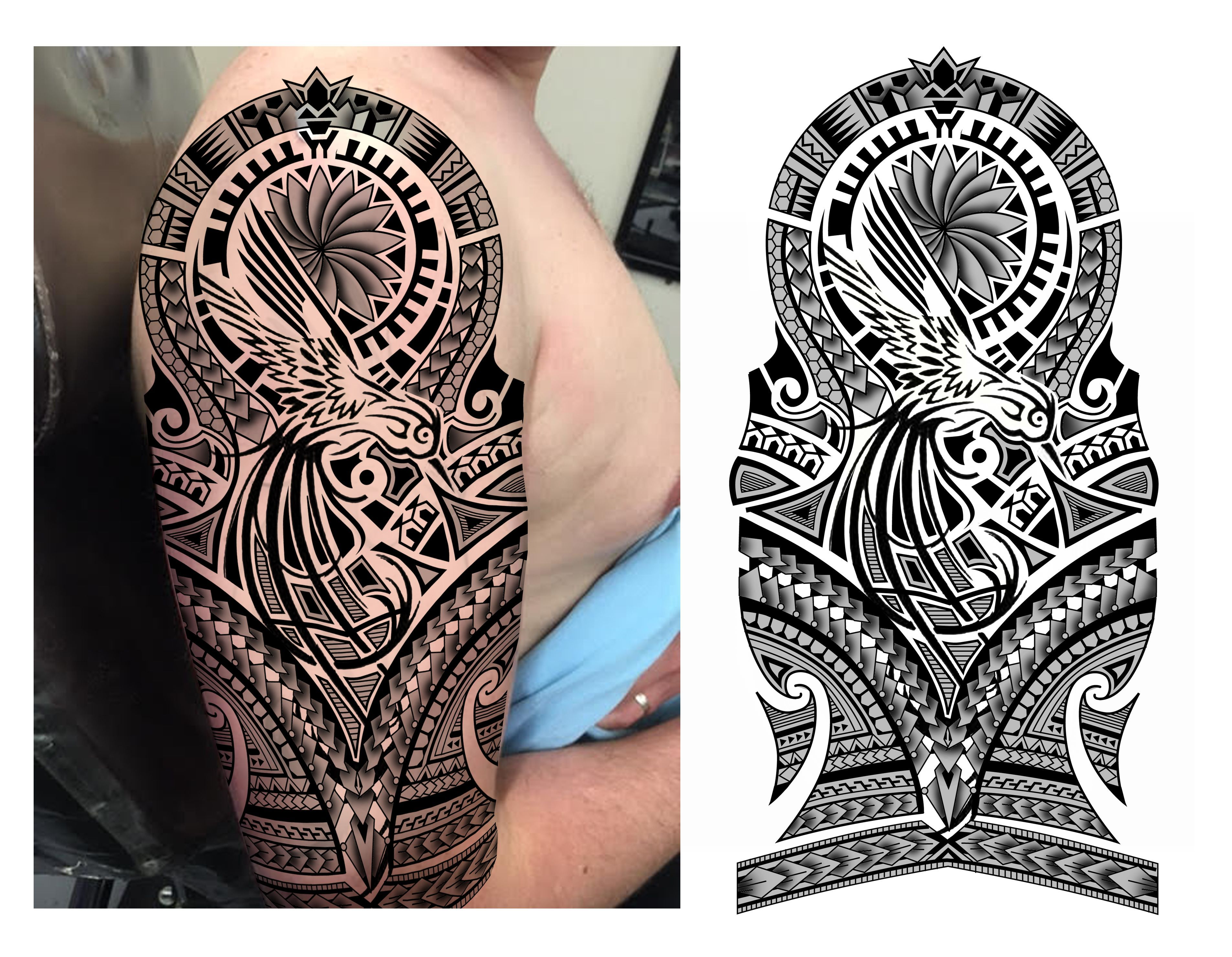 Hummingbird Maori Polynesian Tribal Half Sleeve Tattoo