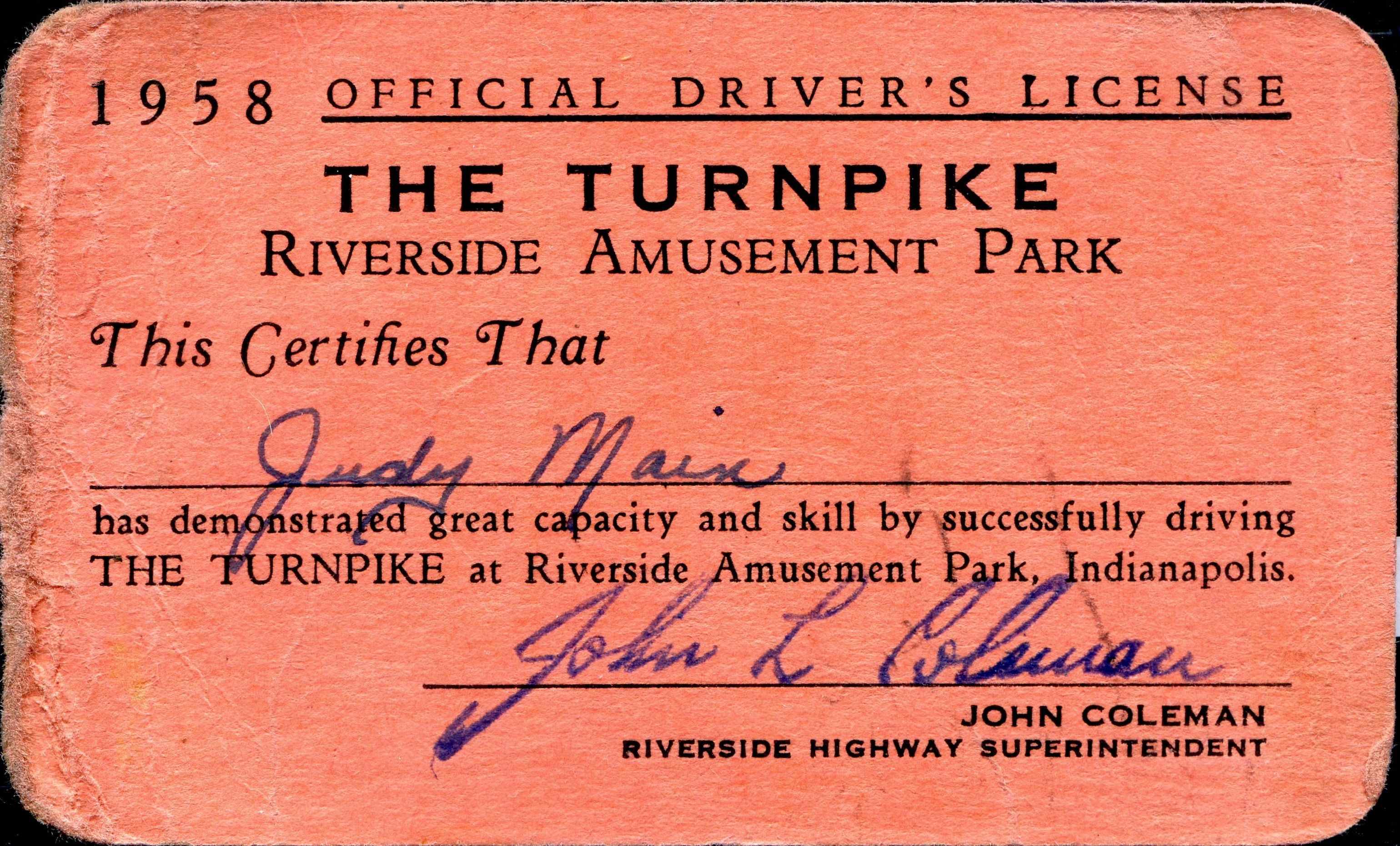 1958 Driver S License From The Turnpike Ride At Riverside Amusement Park In Indianapolis Amusement Park Indianapolis Riverside Park