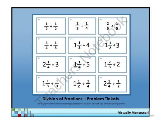 Division of Fractions Problem Tickets from Virtually Montessori on ...