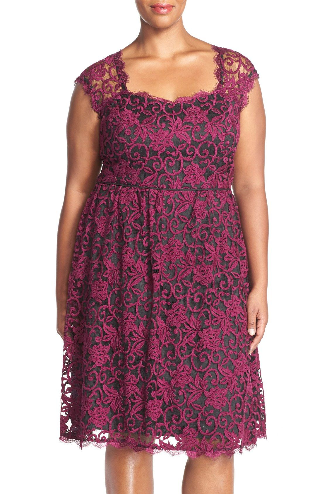 Adrianna Papell Sweetheart Neck Floral Lace Fit & Flare Dress (Plus ...