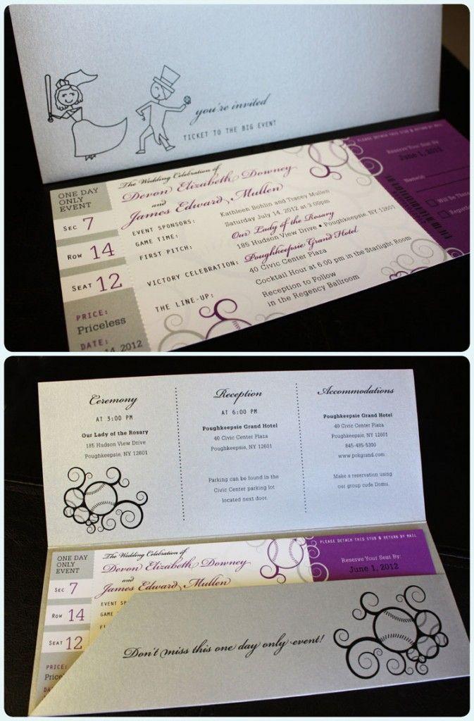 Purple & Silver Swirl Baseball Ticket Wedding Invitations with Pocket Folder