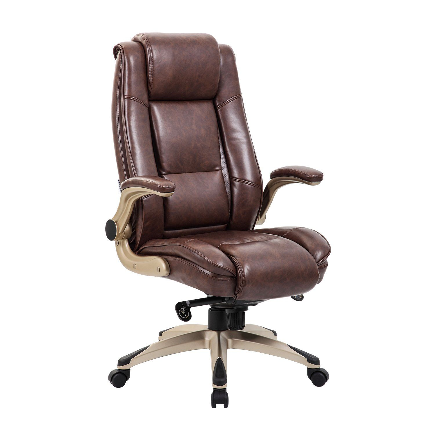 Lch High Back Leather Office Chair Executive Computer Desk With Adjule Angle Recline Locking System And Flip Up Arms Thick Padding For Comfort