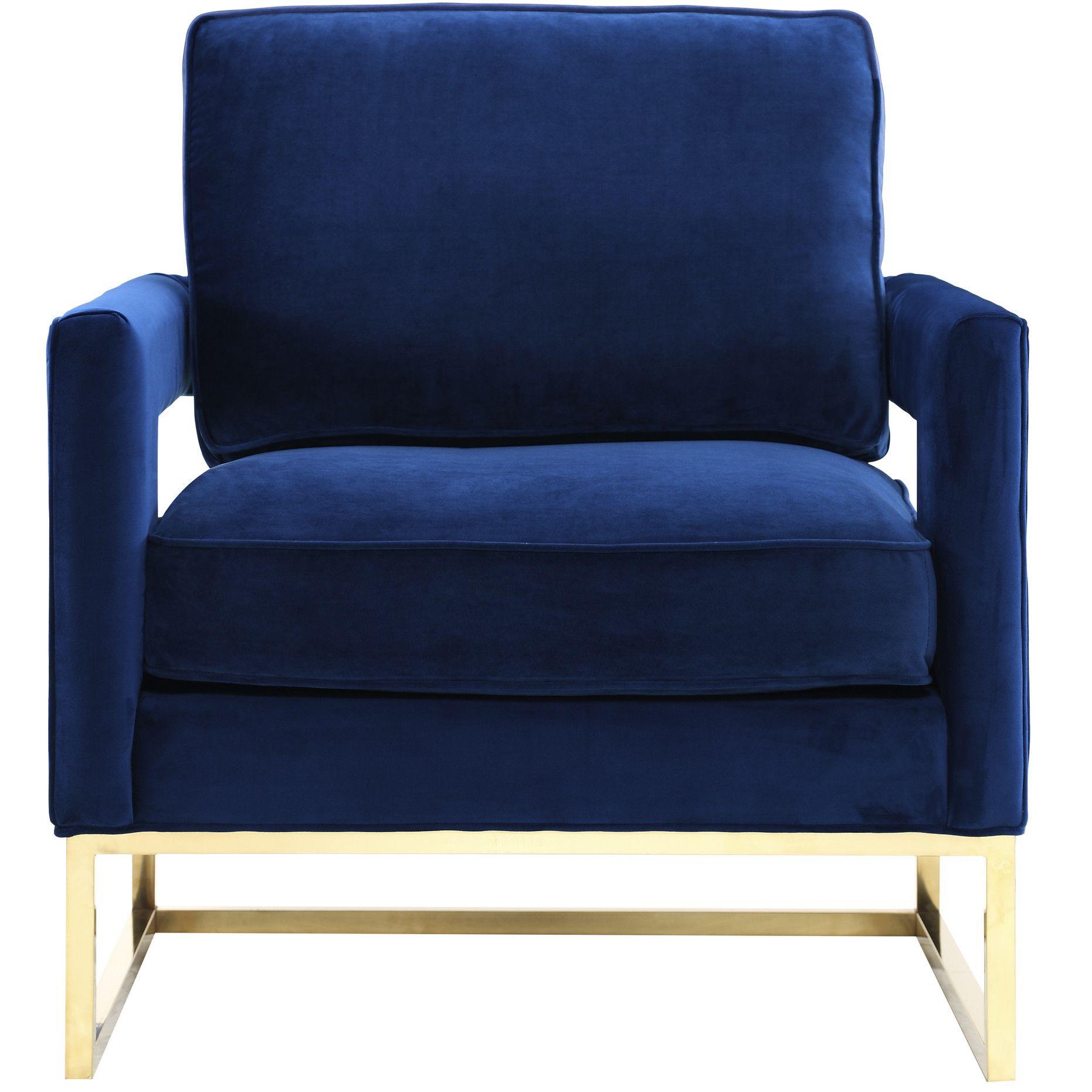 Customer Image Zoomed Velvet chair, Armchair, Navy