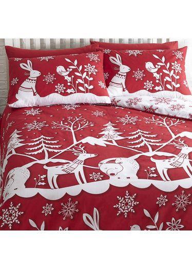 Mountain Snow Christmas Themed King Size Bedding Christmas