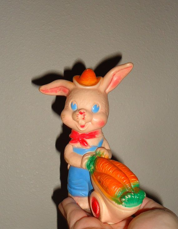 Vintage Squeak Rubber Bunny The Sun Rubber Co Toy By Candylemon Doll Toys Vintage Kitsch Toys