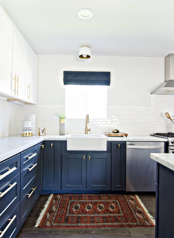 10 Reasons Why Your Kitchen Needs An Area Rug Navy Cabinets Red Rugs And