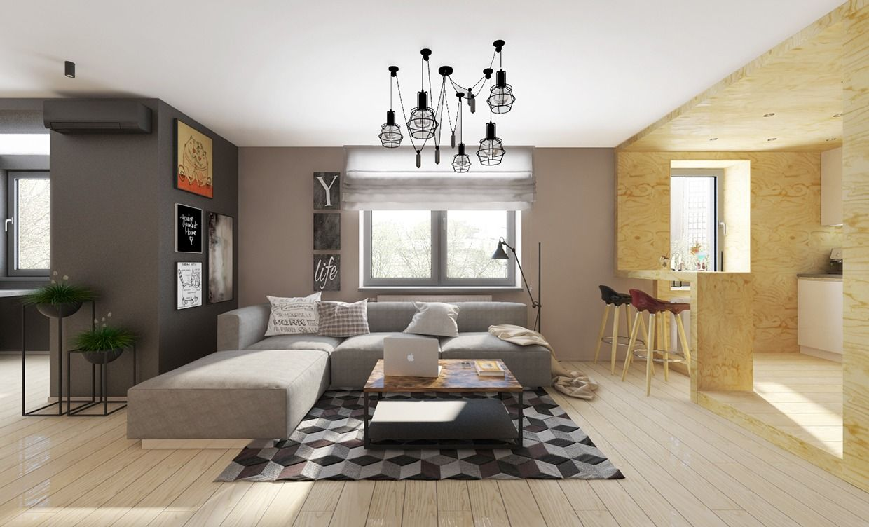 Minimalist apartment interior design with gray color scheme