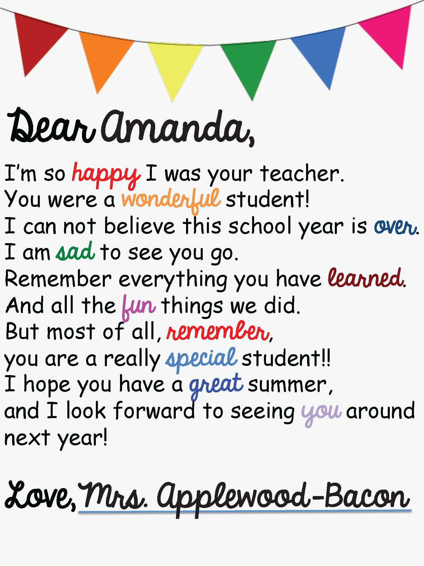 End Of The Year Letters To Students Editable Name