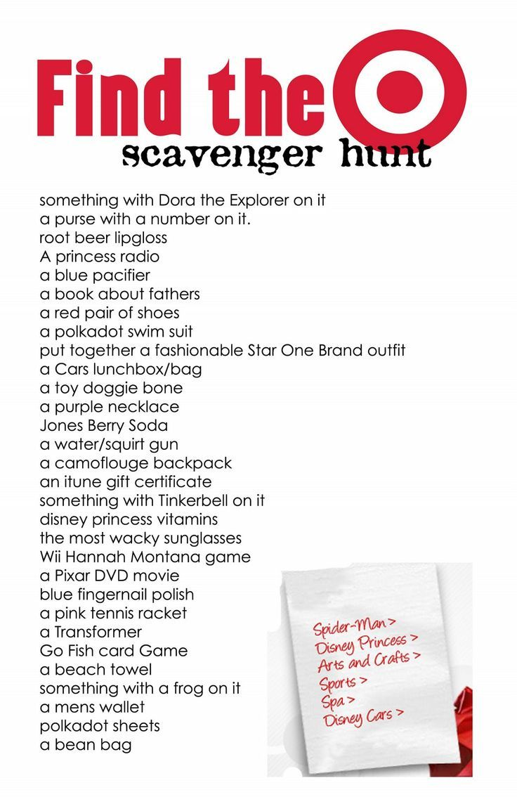 Target Scavenger Hunt Young women activities