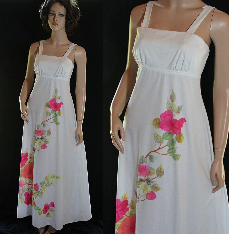 70s maxi dress sundress beach wedding pink floral print