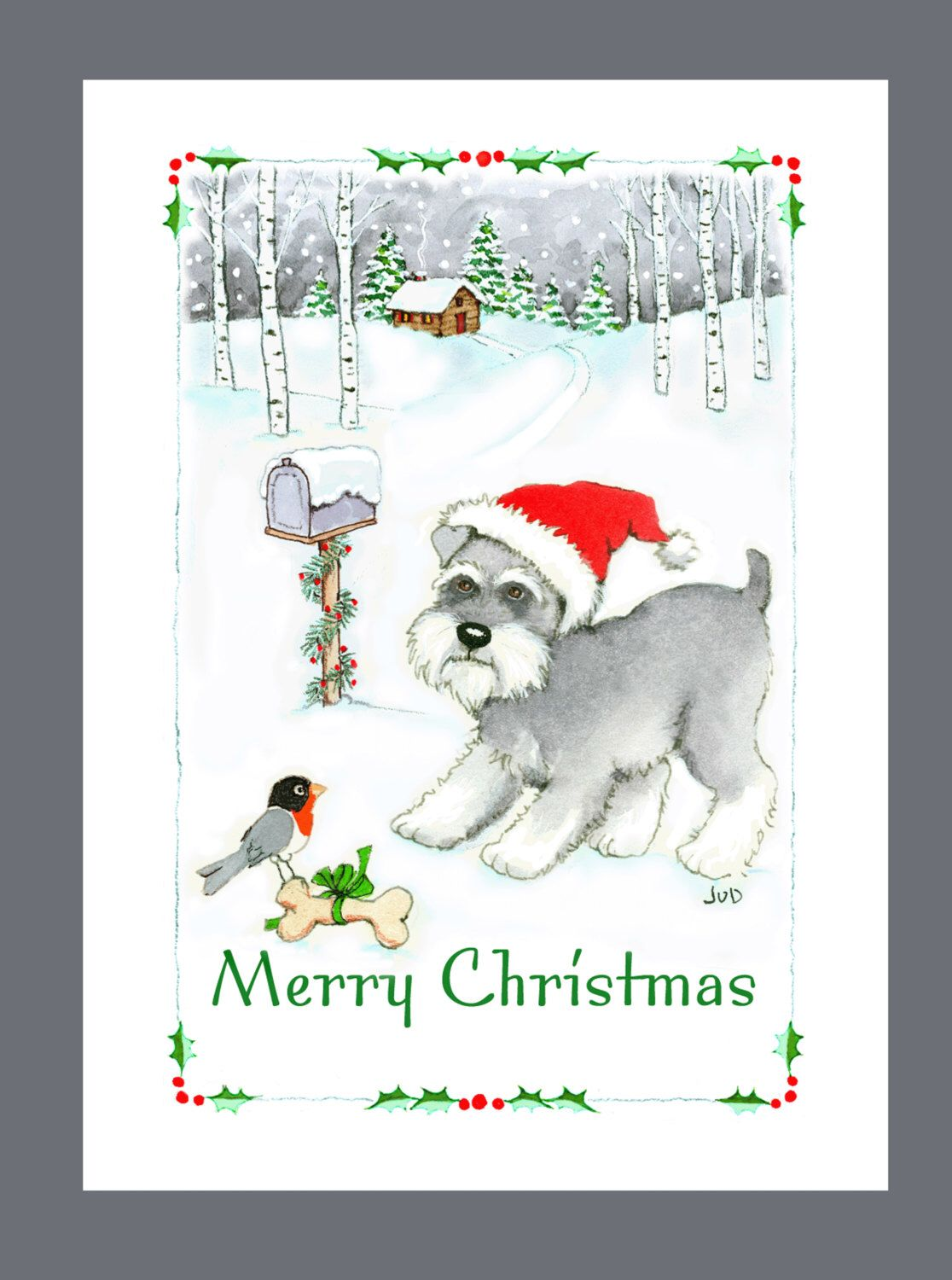 Schnauzer Christmas Cards Box of 16 Cards and 16 Envelopes by ...