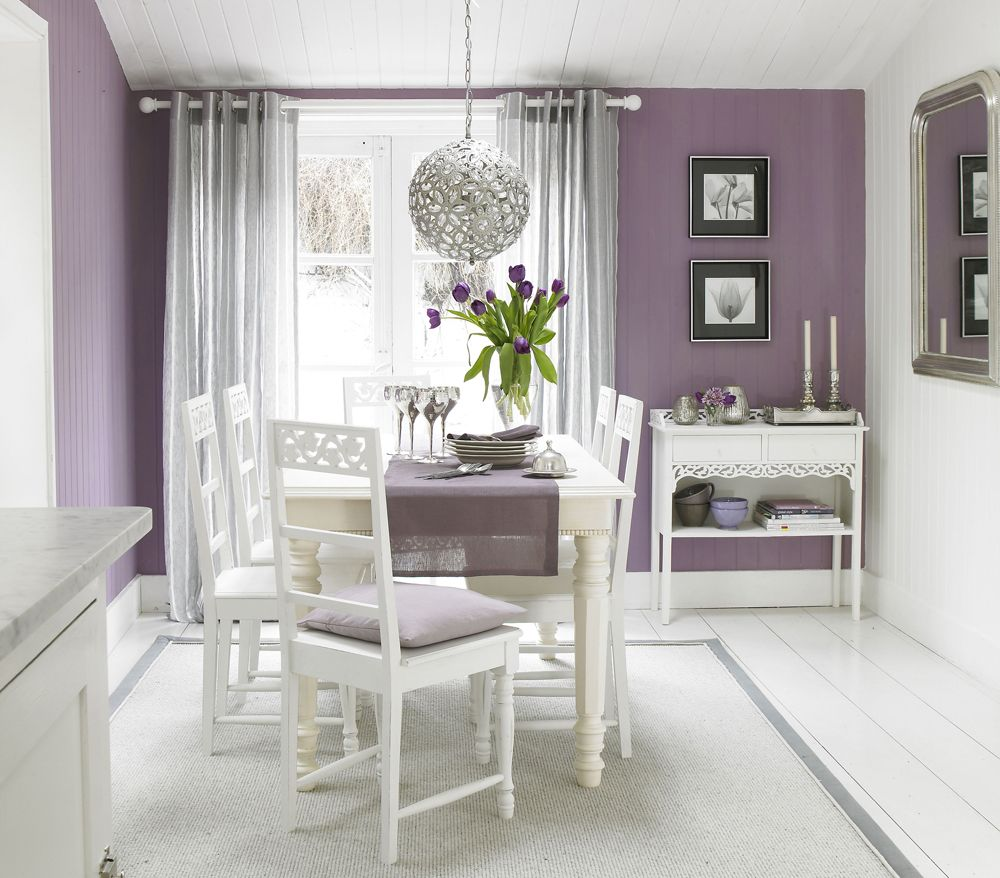 Dining Room Designs by Sophie Robinson. Purple and mauve, balanced ...