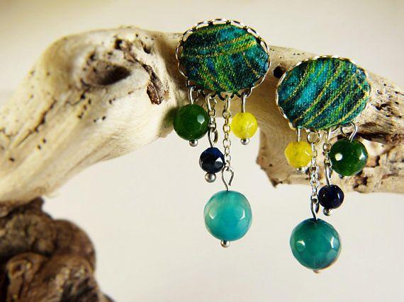 Green yellow agate earrings tissue  tissue earrings  natural