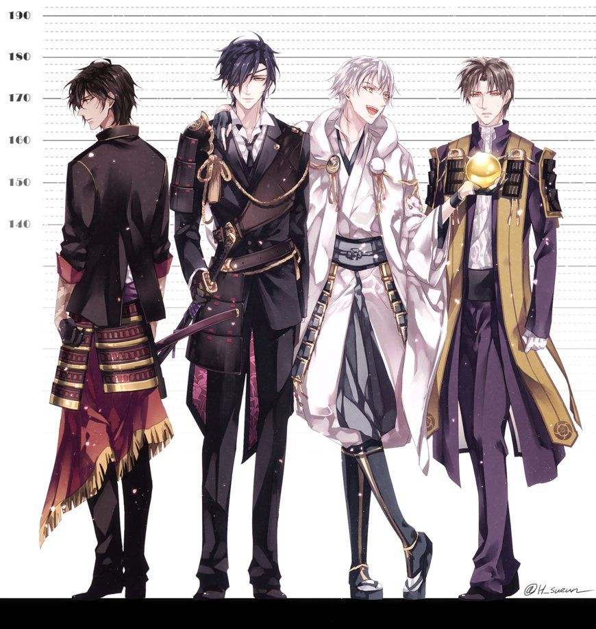 [Touken Ranbu] Height Comparison By Hgsueun On DeviantArt