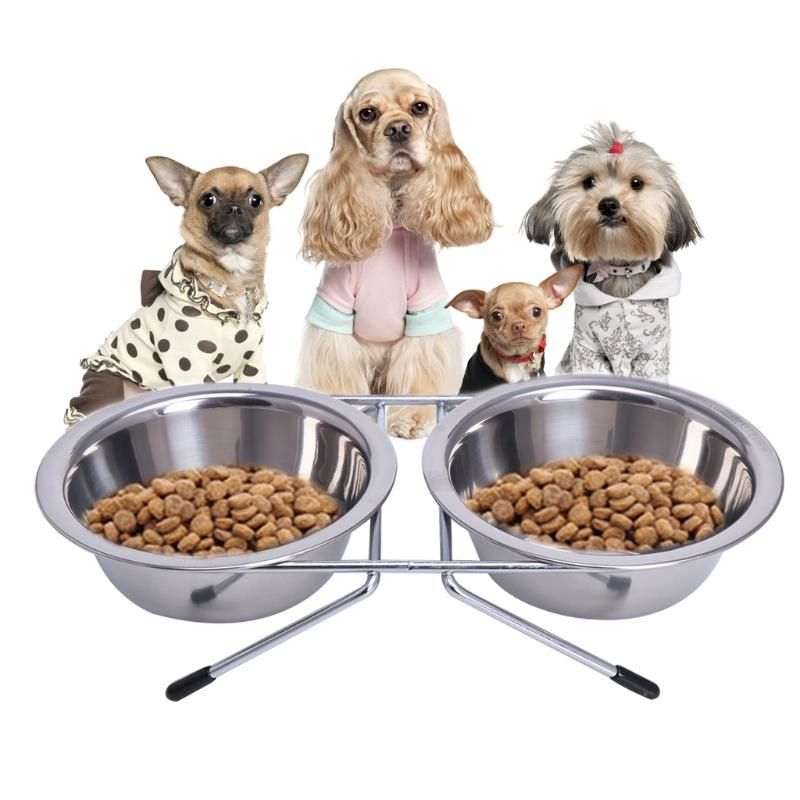 Stainless Steel Double Food Water Bowls With Stand Pet Bowls