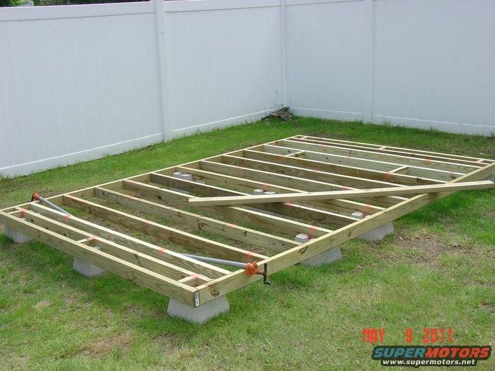 how to use concrete deck blocks for shed